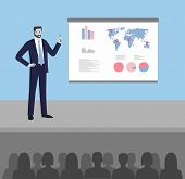 Man With Pointer In Presentation Stand . Business Lecture, Seminar, Report, Presentation, Coaching,  poster