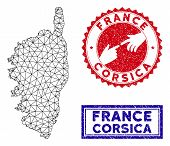 Wire Frame Polygonal Corsica France Island Map And Grunge Seal Stamps. Abstract Lines And Spheric Po poster