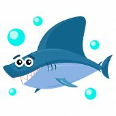Cute Smiling Shark Isolated On White Background. Shark Predator Animal Funny Cartoon. poster