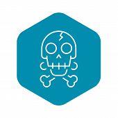 Crack Skull Bone Icon. Outline Crack Skull Bone Vector Icon For Web Design Isolated On White Backgro poster