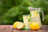 Lemonade In Glass And Jug On Wooden Table Outdoors. Summer Refreshing Drink. Cold Detox Water With L poster