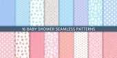 Baby Pattern Seamless. Baby Girl And Boy Shower Backgrounds. Vector. Set Blue Pink Pastel Patterns F poster