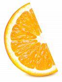 Isolated Orange Fruit. Ripe Slice Of Orange Citrus Fruit Stand Isolated On White Background. Orange  poster