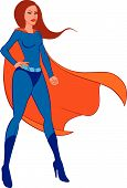 foto of superwoman  - Vector illustration isolated Superwoman on white background - JPG