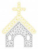 Mesh Christian Church Polygonal Icon Vector Illustration. Carcass Model Is Based On Christian Church poster