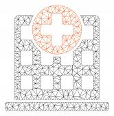 Mesh Clinic Facade Polygonal Icon Vector Illustration. Carcass Model Is Based On Clinic Facade Flat  poster