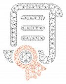Mesh Certified Scroll Document Polygonal Icon Vector Illustration. Carcass Model Is Based On Certifi poster