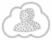 Mesh Cloud Community Polygonal Icon Vector Illustration. Model Is Based On Cloud Community Flat Icon poster