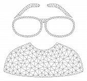 Mesh Clever Spectacles Polygonal Icon Vector Illustration. Carcass Model Is Based On Clever Spectacl poster