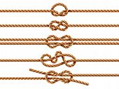 Set Of Isolated Ropes With Different Knot Types. Nautical Thread Or Cord With Sheet Bend And Overhan poster
