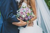 Wedding Day, The Bride And Groom Are Holding A Wedding Bouquet, Faces Are Not Visible poster