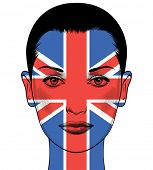 Portrait of a woman with the flag of the Great Britain painted on her face. Political concept Great  poster