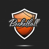 Basketball Logo Design Template. Basketball Emblem Pattern. Basketball Ball And Shield With Vintage  poster
