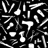 Barbershop.  Silhouette  Set Hairdressing Related Symbols. Hairdressing Equipment And Accessories.   poster
