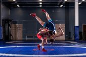 Two Strong Wrestlers In Blue And Red Wrestling Tights Are Wrestlng And Making A  Making A Hip Throw  poster