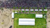 Marathon Running Race, Aerial View Of Start And Finish Line With Many Runners From Above, Road Racin poster