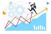 Cartoon Businessman In Suit Run Forward Direction. Arrow Up Success Destination Achievment Vector Il poster