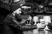Brutal Lonely Hipster. Brutal Hipster Bearded Man Sit At Bar Counter. Friday Evening. Bar Is Relaxin poster