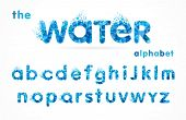 Water Drops Font, Funny Blue Alphabet, Letters And Waves. Mineral Natural Water Vector Abc Icon Desi poster