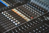 Sound Equipment, Large Mixing Console For Sound Producer. Performance And Sound Design Of Events, Ho poster