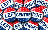 Centre Politics As Left And Right Wing Vote Badges As A United States Election Or Voting Concept As  poster