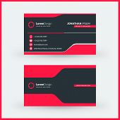 Double-sided Horizontal Modern Business Card Template. Vector Mockup Illustration. Stationery Design poster