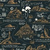 Vector Seamless Background On The Theme Of Travel, Adventure And Discovery. Old Hand Drawn Map With  poster