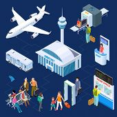 Airport Isometric Vector Concept. Passenger Luggage, Airport Terminal, Tower Plane Passport Checkpoi poster