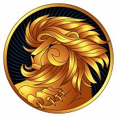 Leo Golden Zodiac Sign, Astrological Icon, Horoscope Symbol Of Gold. Lion With Gilded Mane And Claws poster