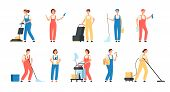 Cleaning Service Workers. Male Female Cleaner Housemaids Mop Floor Polish Washing Machine Household  poster