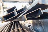 Metal In Stock, Corner, Channel, Beam. Metal Structures For The Assembly Of Metal Products. poster