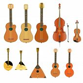 Musical Instruments. String And Stringed Musical Instruments. Art And Music Are Eternal. Vector Illu poster