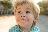 Children Portrait Smiling. Portrait Of Child. Funny Little Boy On Nature Background. Adorable Young  poster