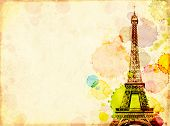 Grunge background with old paper texture, stains of paint and Eiffel Tower. Copy space for text. Moc poster