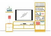 Hand Drawn Sketch. Linear Sketch Of The Interior. Bookcase, Dresser With Tv And Shelves. Vector Illu poster