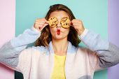 My Favorite Cookies. Pretty Girl Covering Eyes With Cookies. Bakery Style Chocolate Chip Cookie Reci poster