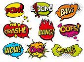Comic book sound effect speech bubbles, expressions. Collection  bubble icon speech phrase, cartoon  poster
