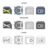 Vector Illustration Of Safe And Open Icon. Set Of Safe And Container Stock Vector Illustration. poster