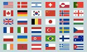 Flags Of The World. Big Set Of 36 World Flags Icons. Brazil, Usa, Portugal Flag. World Flags Vector. poster