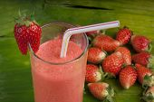 foto of fruit shake  - refreshing healthy yogurt  strawberry smoothie milk shake - JPG
