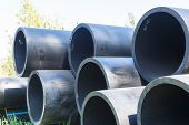 Hdpe High Density Polyethylene Pipe For Water Supply At Construction Site Construction Of A Water Su poster