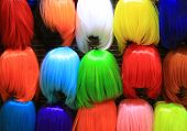 Colorful Wig Accessories. Sales At The Market. Different Wigs For Women. poster