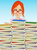 stock photo of girl reading book  - Girl Wearing Glasses Behind a Stack of Books - JPG