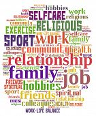 Work-Life Balance in colorful word collage