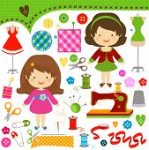 image of sewing  - cute girls having fun sewing - JPG