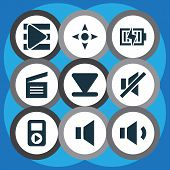 Multimedia Icons Set With Arrow Down, Audio, Megaphone And Other Song List Elements. Isolated  Illus poster