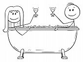 Vector Cartoon Stick Figure Drawing Conceptual Illustration Of Man And Woman Relaxing Together In Ba poster