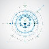 Mechanical Scheme, Blue And Green Vector Engineering Drawing With Circles And Geometric Parts Of Mec poster