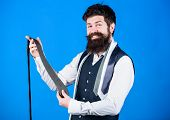 Guy With Beard Choosing Necktie. Perfect Necktie. For Formal Occasions Choose Solid Colored Tie That poster