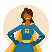 African American Super Hero Woman Cartoon Pose Isolated. Pretty Female Super Woman Avatar. Vector St poster